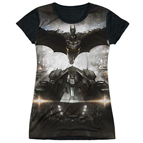 Price comparison product image Batman: Arkham Knight Video Game Poster Art Juniors Black Back T-Shirt Tee