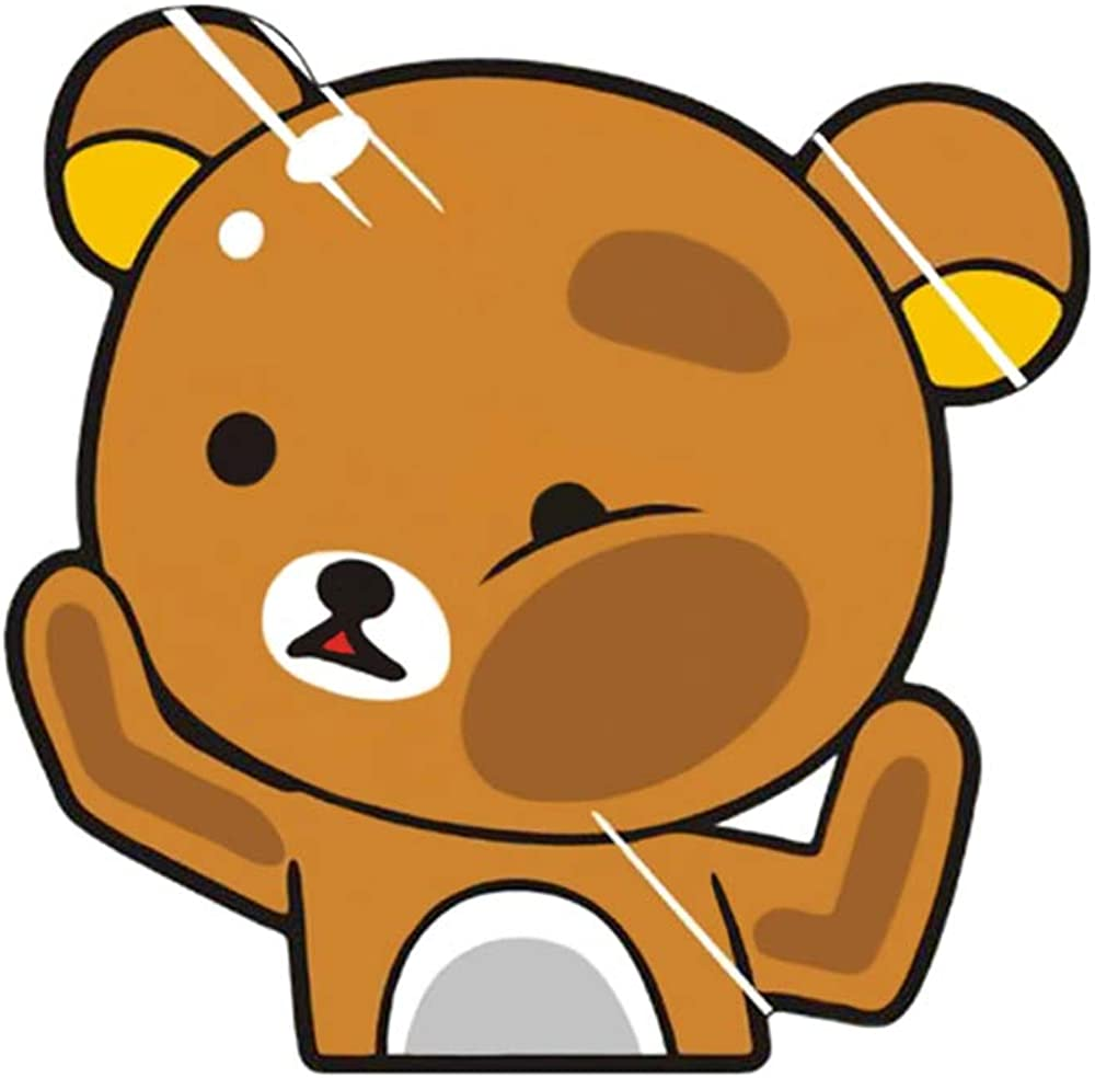 "Funtaku - Rilakkuma Bear Funny Hitting Glass Vinyl Decal Sticker for Car/Window/Computer (4.3"" x 4.3"")"