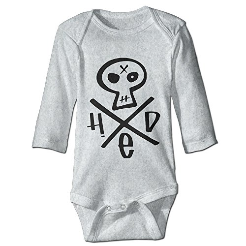 Price comparison product image HYRONE Hed Skull Logo Baby Bodysuit Long Sleeve Romper Suits Size 18 Months Ash