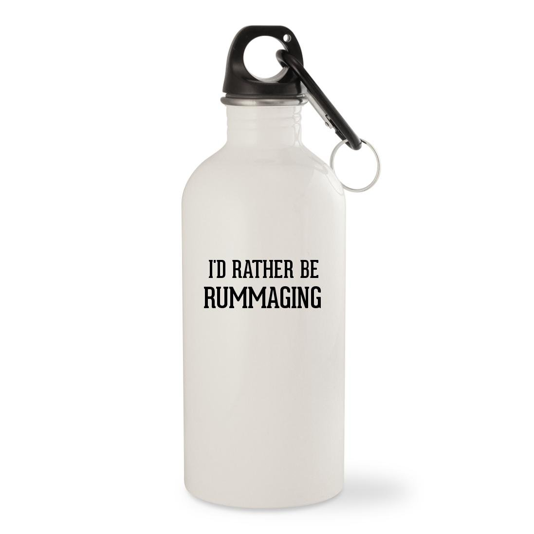 I'd Rather Be RUMMAGING - White 20oz Stainless Steel Water Bottle with Carabiner