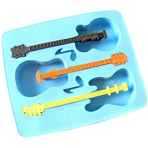 Mwfus Guitar Shaped Music Party Silicone Jello Chocolate Mold Ice Cube Tray with 3 Neck Drink Stirrers