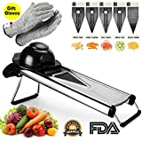 vegetable v slicer - V Blade Vegetable Mandoline Slicer, Zacfton Fruits and Vegetable Cutter - Stainless Steel Vegetable Slicer Chopper Cheese Grater, Julienne Cutter Includes Cut-Resistant Gloves and 5 Different Inserts