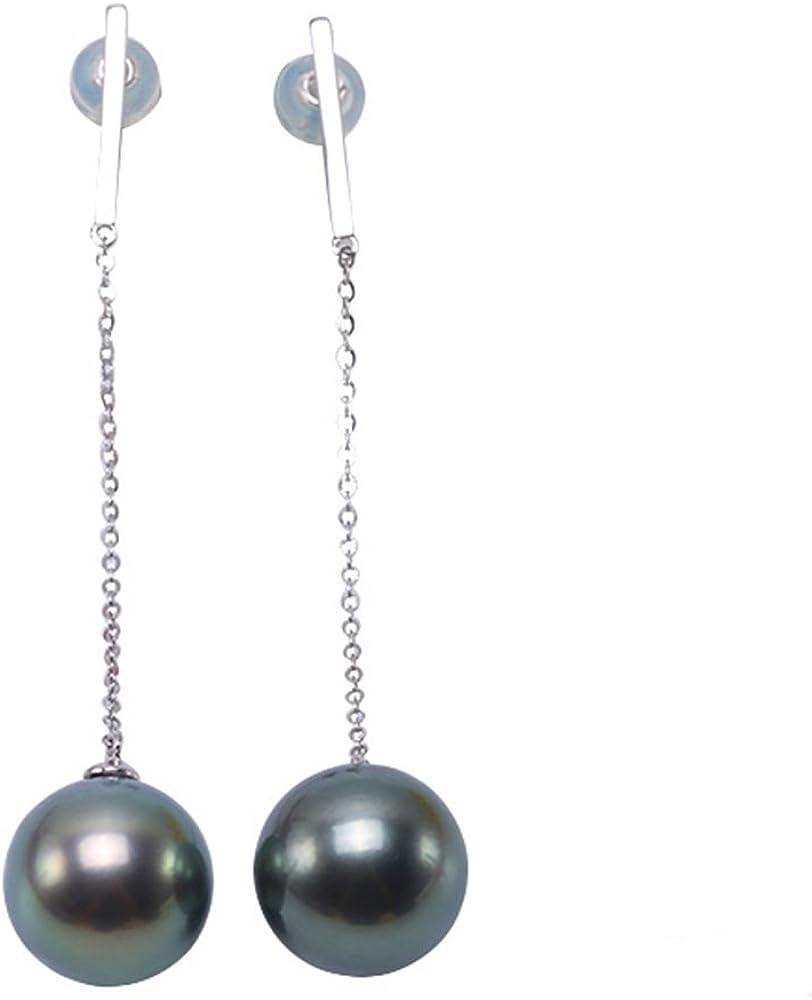 JYX - Pendientes de perlas cultivadas de Tahití, oro de 14 quilates, 11,5-12 mm, color verde pavo real