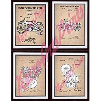 """Four Framed Behind Glass READY TO HANG Harley Davidson Enthusiast US Patent Office Art Prints 8"""" X 10"""""""