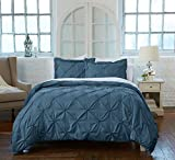 Great Bay Home Signature Pinch Pleated Pintuck Duvet Cover with Button Closure. Luxuriously Soft 100% Brushed Microfiber with Textured Pintuck Pleats and Corner Ties. By (Twin, Soft Teal)