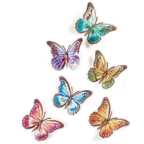 Gift Craft Butterfly Design Wall Plaques, 6 Assorted Colors 6.5