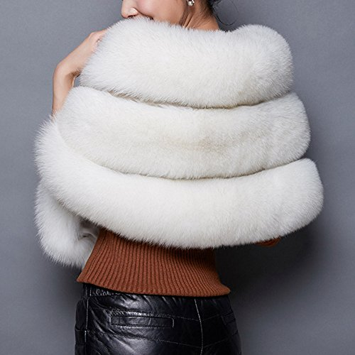 Caracilia Women's Wedding Bridal Faux Fur Shawl Stole Wrap for Party Ivory2 C89