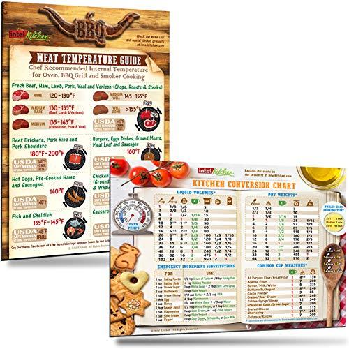 Cheap Measurement Chart - Best-Designed Cooking Gift Set: Cool BBQ Meat Temperature Guide + Comprehensive Kitchen Measurement Conversion Chart Magnets 8