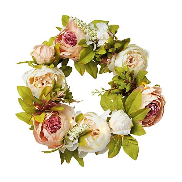"IRONLAND Peony Flower Wreath for Front Door Artificial Floral Wreath with Green Leaves, 15"" Spring Summer Garland Wreath for Wall Wedding Party Home Décor (with a Bunch of Lights) Champagne Peony"