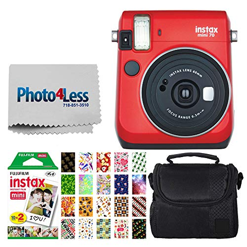 Fujifilm instax Mini 70 Instant Film Camera + Fujifilm Instax Mini Twin Pack Instant Film + Small Digital Camera/Video Case + 20 Sticker Frames Fuji Instax Prints (Passion Red)