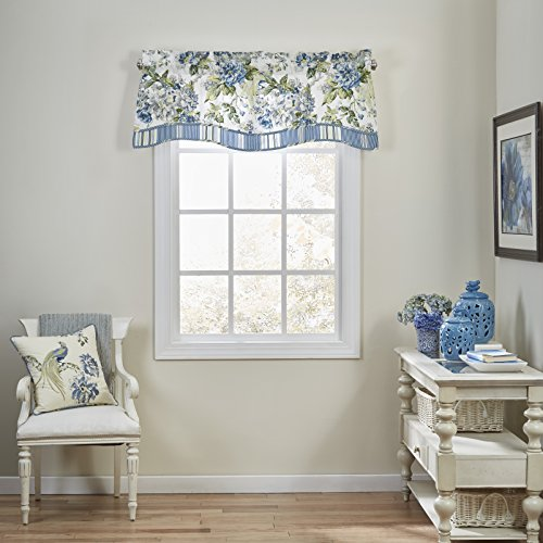 "WAVERLY Kitchen Valances for Windows - Floral Engagement 52"" x 18"" Short Curtain Valance Small Window Curtains Bathroom, Living Room and Kitchens, Porcelain"