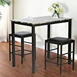 BMS Dining Kitchen Table Dining Set Marble Rectangular Breakfast Wood Dining Room Table Set Table and Chair for 2