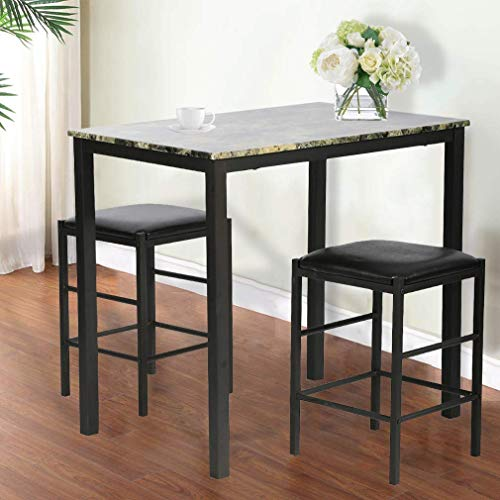 BMS Dining Kitchen Table Dining Set Marble Rectangular Breakfast Wood Dining Room Table Set Table and Chair for 2 by BMS (Image #7)