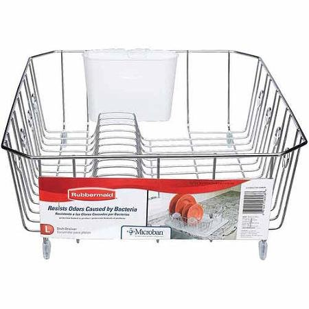 Rubbermaid Antimicrobial Small Dish - Rubbermaid Large Antimicrobial Dish Drainer, Chrome