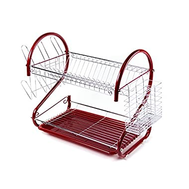 Spacesaver 2-Tier Stainless Steel Dish Rack System, Red
