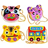 Willcome Childrens EVA Sewing Kit for Kids Cute DIY Sewing & Craft Project Cartoon Bag, 4 Pack