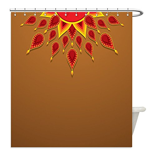 Liguo88 - Cortina de ducha impermeable de poliéster con diseño de cachemira oriental con vigas de sol como detalles para...