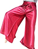 Cheap Raan Pah Muang Brand Geometric Thick Textured Silk Drive in Wrap Pants, XX-Large, Blood Red