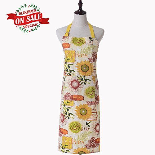 Sunflower Apron - Glanzhaus Yellow Sunflower Pattern Cotton Kitchen Apron for Women, Chef Cooking or Baking Apron with Two Large Front Pockets