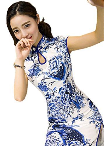Peacock Floral Velvet Long Cheongsam Qipao Dress (XXL)