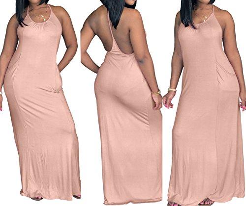 Fte Nu Robe de Soire t Maxi Dos Cocktail de Femmes de Couleur Up Plage Sexy Fashion Robe Robes Pin Unie Abricot vqEUwZ