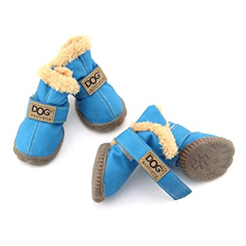 b4da46b9b3 Image Unavailable. Image not available for. Color  AOBRITON Winter Pet Dog  Shoes Waterproof 4 Pcs Set Small Big Dog s Boots ...