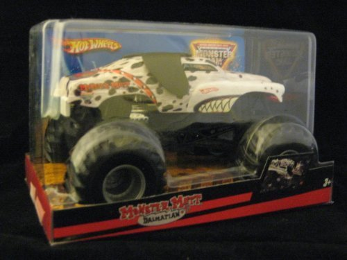 Hot Wheels Monster Jam 1:24 Scale Die Cast Official Monster Truck 2009 Series - Monster Mutt Dalmatian with Working Suspension and 4 Wheel Steering (Dimension - 7