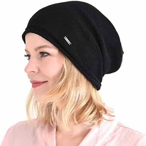e2dbd3cb CHARM Silk Beanie Hat for Women and Men - Slouchy Oversized Mens Beanies  Cap Womens Chemo
