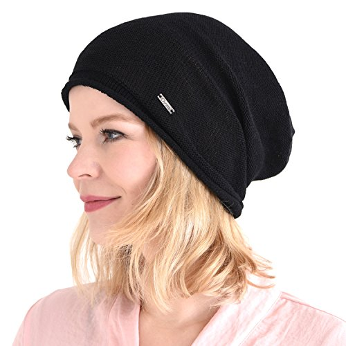 CHARM Silk Beanie Hat for Men and Women - Slouchy Oversized Beanies Cap Chemo Hat Perfect for Sensitive Skin Black