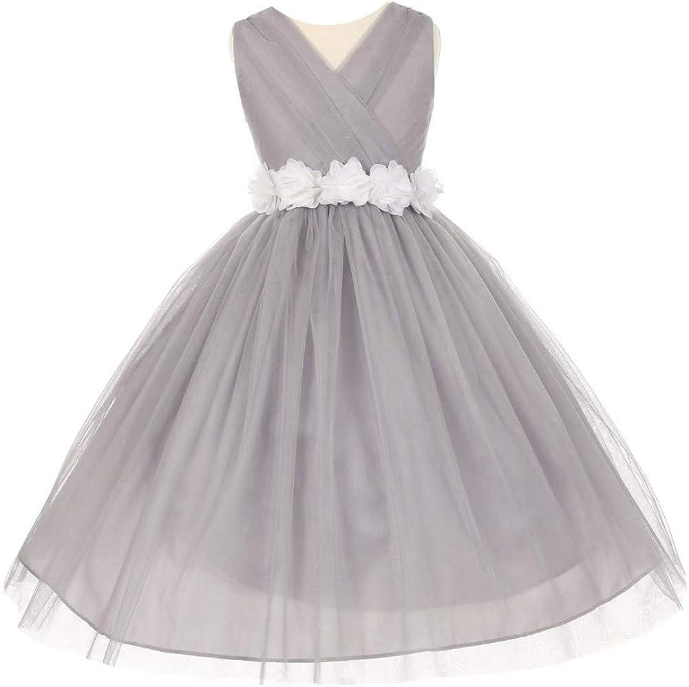 Big Girls Silver White Chiffon Flowers Tulle Junior Bridesmaid Dress