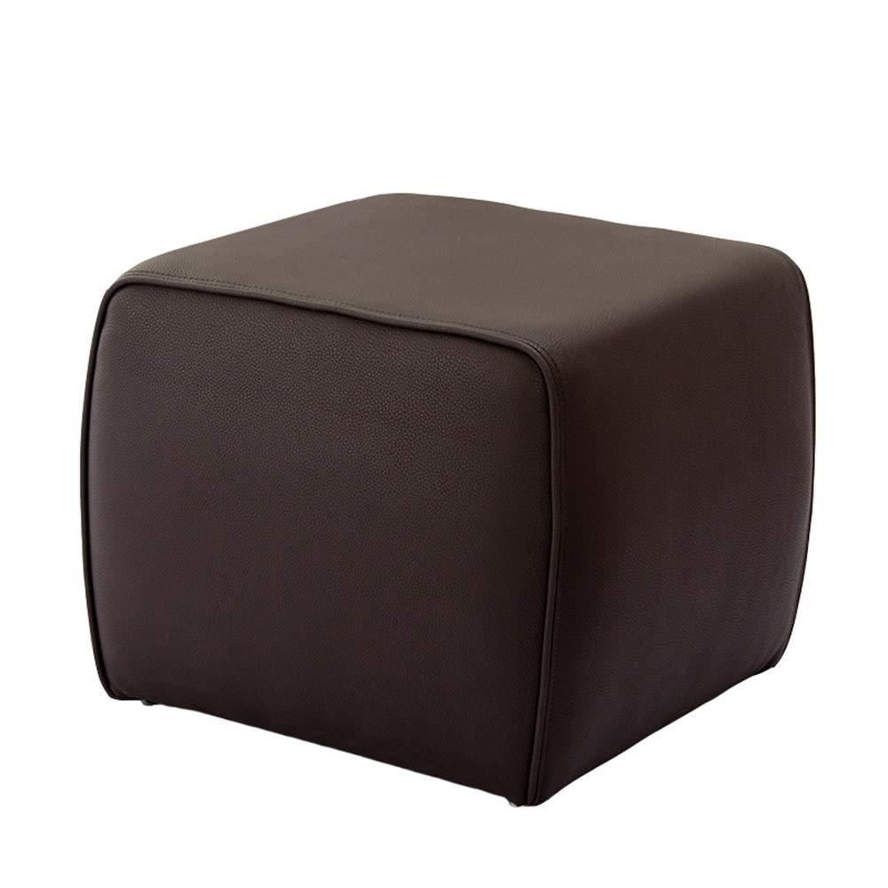 GWDJ フットスツール、PUスツール、靴のスツールを変更する、ベッドルームのレジャーシートスツール、リビングルームのソファースツール、純木枠付き、50 cm、6色 強化フットレスト (色 : Brown) B07PN7LNTM Brown