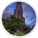 Pixels Round Beach Towel With Tassels featuring ''The Cathedral Of Learning'' by Rick Berk