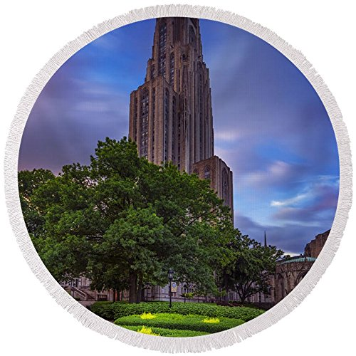 Pixels Round Beach Towel With Tassels featuring ''The Cathedral Of Learning'' by Rick Berk by Pixels (Image #4)