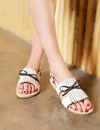 ShangYi Womens Shoes Leatherette Flat Heel Slide / Comfort / Open Toe Sandals Dress / Casual Black / Yellow / White White