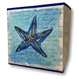 Banberry Designs Decorative Collapsible Storage Bin Nautical Beach Box - Blue Starfish Design - 11'' High