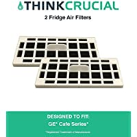 2 Replacements for GE Fridge Odor Air Filters Fit Cafe Series CFE28TSHSS, CYE22TSHSS, CZS25TSESS & CNS23SSHSS, by Think Crucial