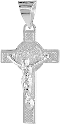 Sterling Silver Crucifix Pendant Necklace 1 1//4 inch high sold With or Without Chain 18-30 inch