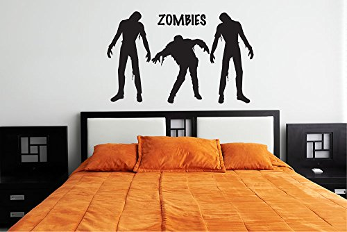 Zombies Silhouette Vinyl Wall Words Decal Sticker Graphic ()