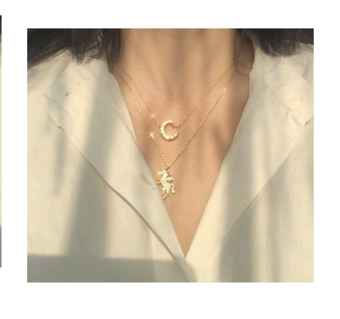 Fanovo Unicorn and Moon Necklace + Jewelry Pouch + Jewelry Box Unicorn Jewelry for Girls Women - Be The Unicorn Princess