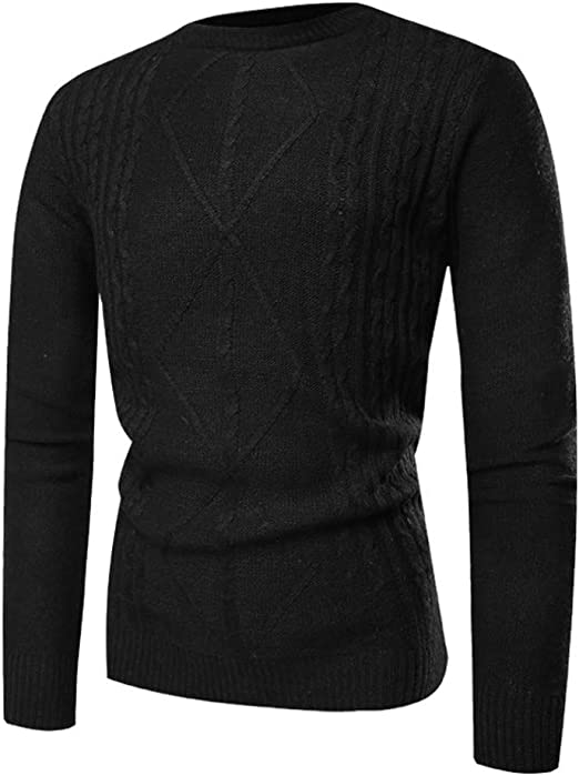 Winter high Collar Thread Knitted Pulloverr Solid Long Sleeve Elastic Knitwear Warm Tops OSTELY Mens Sweater