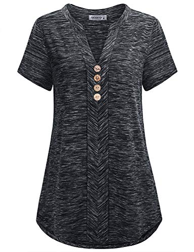 MOQIVGI Work Tops for Women,Short Sleeve Vneck Chic Office Career Blouse Shirts Button Embellished Notch Collar Tunics Business Casual Attire Loft Clothing Heathered Black X-Large