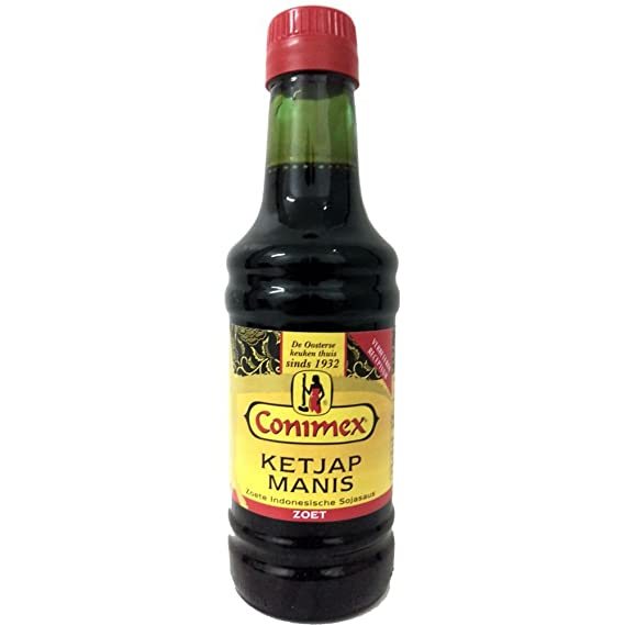 Con protector dorsal Conimex Ketjap, dulce nexos Trading Sauce Soja, Soja, Salsa,