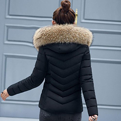 Fur Women Ladies KIMODO Hooded Overcoat Winter Thicker Casual Jacket Slim Solid Warm New Black Collar UHHE1vwnxC