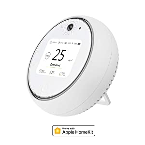 Koogeek Air Quality Monitor, Indoor Air Quality Tester PM2.5/PM10 Temperature Humidity Test, Light Sound Motion Sensor, Air Pollution Detector with Apple HomeKit, Rechargeable Battery Only iOS Device