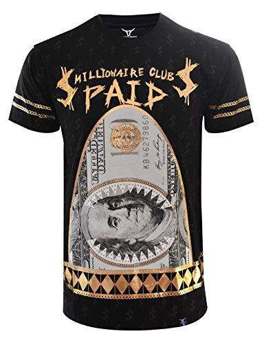 SCREENSHOTBRAND-S11845 Mens Hipster Hip-Hop Premium Tees - New York Latest Fashion Money Paid Gold Foil Print Shirt -Black-Medium