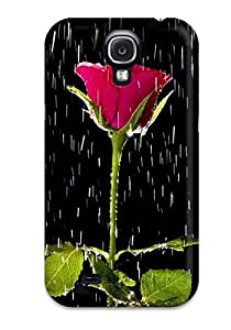 Tpu Case Cover For Galaxy S4 Strong Protect Case - Rose And Rain Nature Flower Design