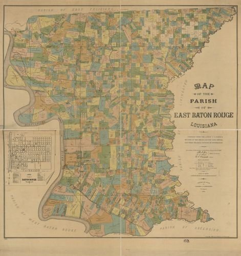 1895 Map of the Parish of East Baton Rouge, Louisiana - Size: 24x24 - Ready to Frame - East Baton Ro