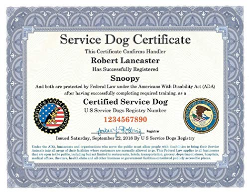 Official Service Dog Certificate - Fully Customized including Registration to U S Service Dogs Registry