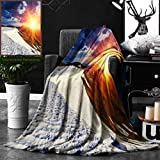 Unique Custom Double Sides Print Flannel Blankets Boho Decor Sunshine Clouds Nature Mountain And Valley Sun Divider In College Landscape Super Soft Blanketry for Bed Couch, Twin Size 60 x 70 Inches