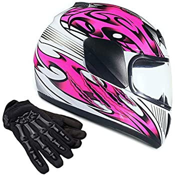 2fe1ac88ab416 Typhoon Youth Kids Full Face Helmet with Shield & Gloves Combo Motorcycle  Street Dirt Bike -